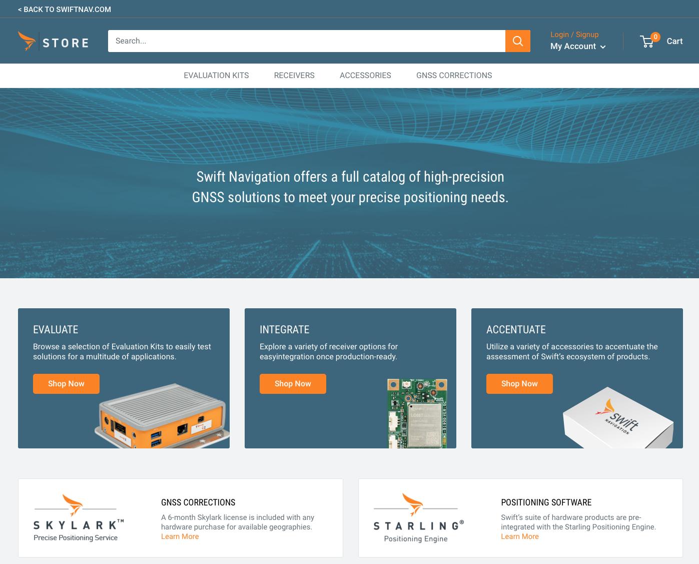 Swift Navigation eCommerce site